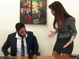 Sexy milf boss Syren De Mer exploits employee for dick hd
