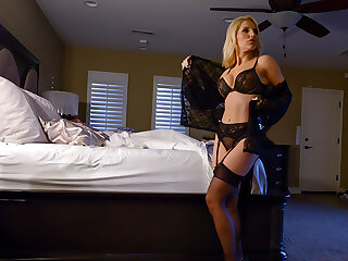 Ashley Fires has her boy toy creampie her while her husband sleeps