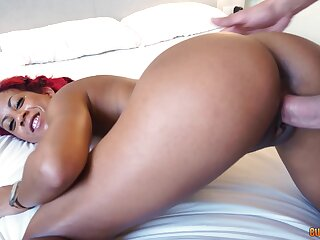 Red-haired ebony lives out sexual desires roughly hung white guy