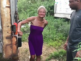 Outdoor interracial with granny