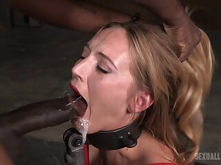 Rough mouth screwing by two dudes for slutty usherette Mona Wales