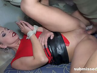 Energized woman tied in the matter of and roughly fucked like a slut