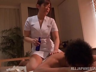 Oiled masseur Kokomi Naruse gets fucked hard by her client