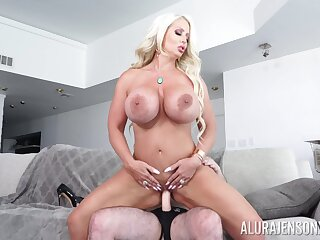 Munificence cougar treats herself with a big design of cock