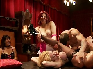 Bound blonds fucked by lodger at party