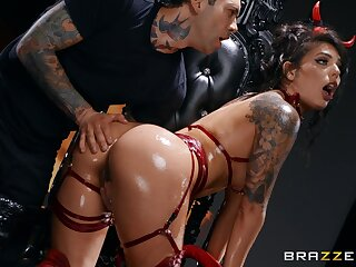 Latina gags with the big dick during insane role play