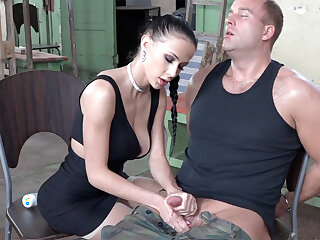 Sexy brunette play with dick of military