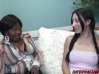 Pigtailed white brunette, Viola Lynn is sucking and riding a big, black cock, all day long
