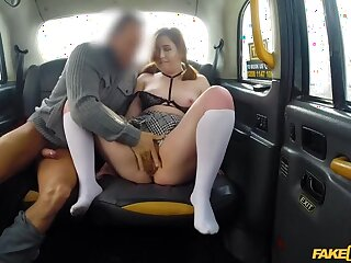 Sexy hot taxi fuck out of reach of a snowy day